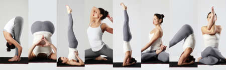 Yoga collage. young woman doing yoga exercises. healthy sport girl, collection of items