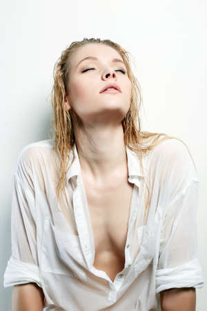 Wet Sexy Girl. Beautiful Blond Woman with wet Hair and Body. sexy naked body part