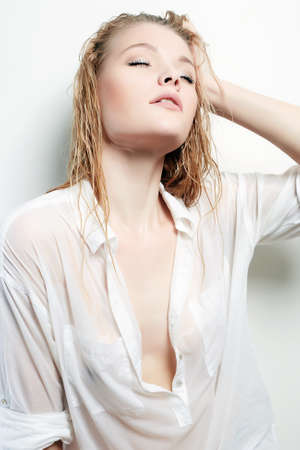Wet Sexy Girl. Beautiful Woman with wet Hair and Body. Naked Body part
