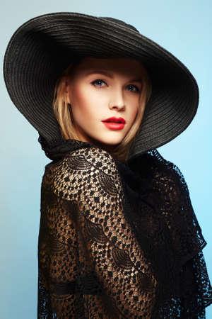 Beautiful young woman in hat. summer fashion beauty blonde girl
