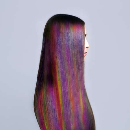 Rainbow Hairstyles young woman. colorful Hair Girl