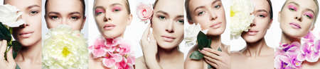 Beauty collage. Beautiful young Woman with Make-up and Flower. Girl with flowers. Clean Skin Face, care.