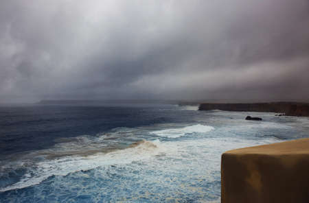 rainy day on the ocean. storm. atlantic coast of portugal