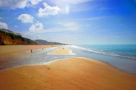 beautiful sunny morning at the beach Albufeira in Portugal Фото со стока