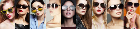 Beauty Fashion collage. Beautiful young Women in Sunglasses. Fashionable Girls in Glasses. Eyewear style. Stock Photo
