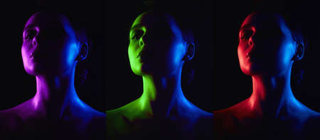 Beauty Collage. Rainbow woman silhouette. Beautiful Girl in color bright lights
