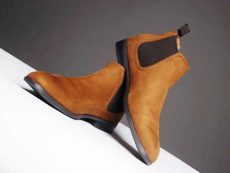 Fashionable shoes. fashion men's boots still life. Chelsea shoes