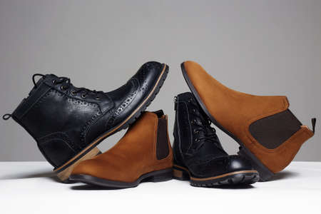 stylish mens shoes. men fashion still life. different boots