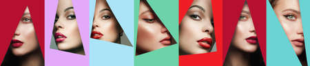 collage. young beautiful women. female faces with makeup into color paper hole. make-up artist concept