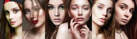 rostros femeninos. collage de mujeres hermosas. hermosas chicas adolescentes con maquillaje Foto de archivo