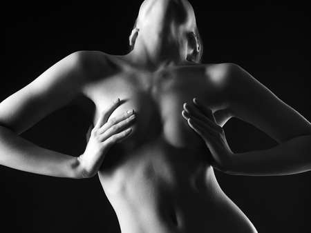 Black and white Female Nude Body. Naked Woman. Girl with Perfect Body