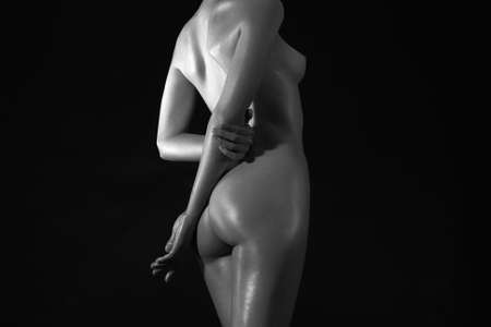 Back of Nude Woman. Wet Naked body Girl in the dark