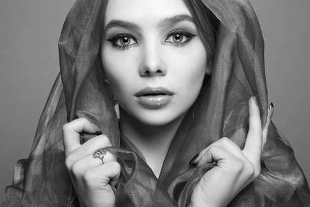 beautiful young woman under veil. beautiful girl. beauty portrait