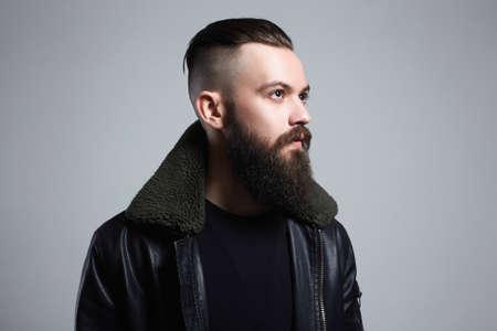 Fashionable Man. Bearded Handsome Boy. Stylish hipster