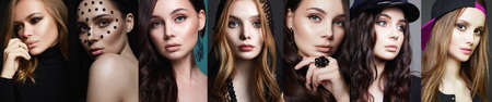 collage of beautiful women. beautiful teen girls with make-up.female faces.