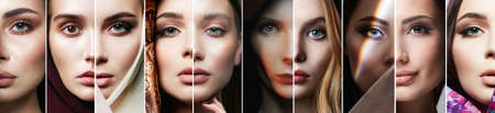 Different female eyes. collage of beautiful women. beautiful girls with make-up 免版税图像