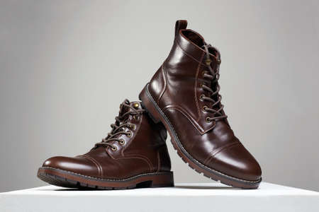 Trendy men's shoes. fashion still life. leather brown boots