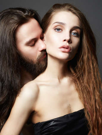 beautiful lovely couple.sexy woman and handsome man. boy and girl kissing
