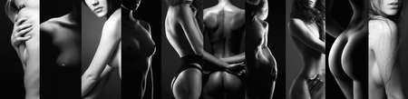 black and white collage of beautiful women. beautiful girls body silhouettes