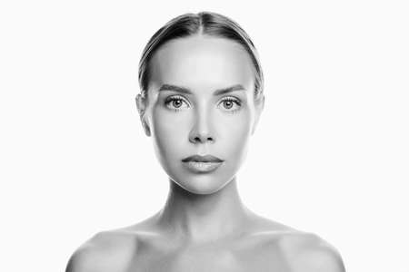 Beauty Woman face Black and white Portrait. Beautiful Spa model Girl with Perfect Fresh Clean Skin. Youth and Skin Care Concept. Isolated on a white background 免版税图像 - 158267851