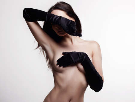 perfect Body Naked Girl in gloves. Sensual Nude sexy Beautiful young Woman