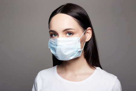 Young Woman in Mask. Epidemic concept. Coronavirus. medical masked beautiful girl. 免版税图像