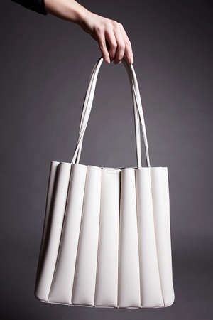 woman's hand holding Handbag. fashion Bag still life. stylish photo in the studio