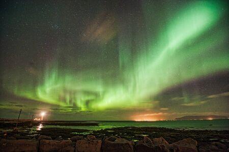 aurora borealis: Aurora Borealis over Gr�ttuviti Stock Photo