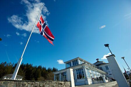atop: Norweigian flag atop the Floibanen Funicular