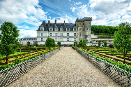 Colorful garden at a french chateau Banco de Imagens