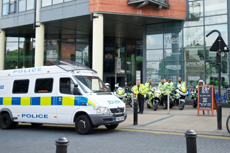 fascism: Sheffield, UK - June 8, 2013 - Police mobilized for English Defence League and United Against Fascism protest Editorial
