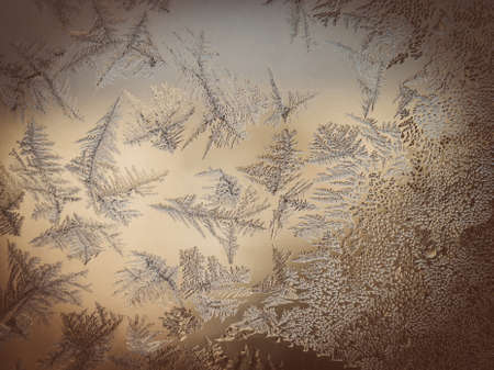 Winter Season Fantasy World Theme Concept: Vintage Faded Macro Image Of Light Frosty Window Glass Natural Ice Patterns Stock Photo