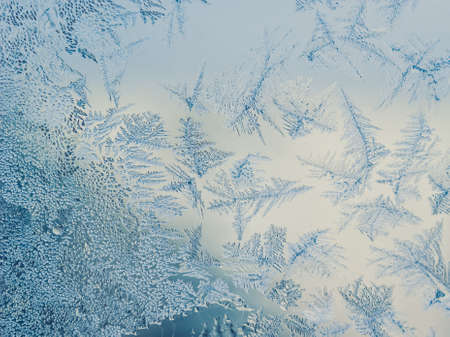 Winter Season Fantasy World Theme Concept: Macro Image Of Colorful Light Frosty Window Glass Natural Ice Patterns