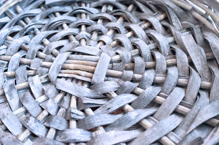 Empty Gray Wicker Basket Base, Circular Pattern, Closeup