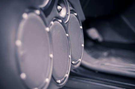 Sistema audio per auto, altoparlanti nella porta aperta. Archivio Fotografico