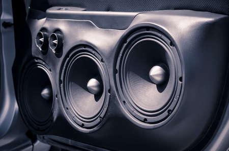 Car Audio System Speakers in the Opened Door. Stock Photo