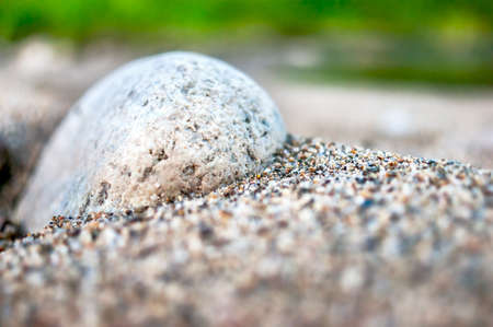 Close-up View of White Cobble in Coarse Sand. Travel Concept.