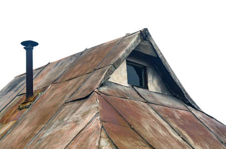 Aged Cottage Details: Roof Ridge, Gable End with Little Window, Steampunk Style Concept.