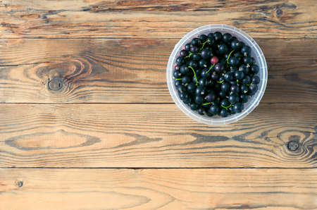 Top-Down View of the Plastic Container of Black Currant Berries and Red Gooseberries on the Wooden Table. Stockfoto