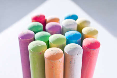 Jumbo Sidewalk Chalk, Assorted Colors, Bold Tips on White Background with Shadows. Stockfoto