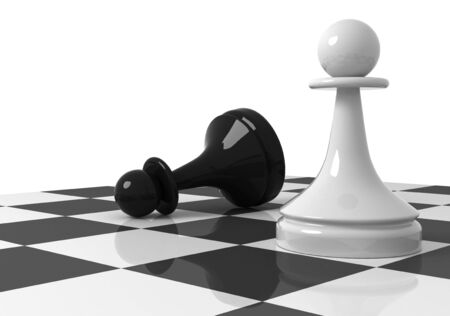 shah: Chess pieces on the chessboard  black and white pawns  3d render illustration isolated on white background