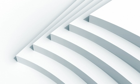 3d illustration  white abstract architecture fragment with five stairs installation illustration