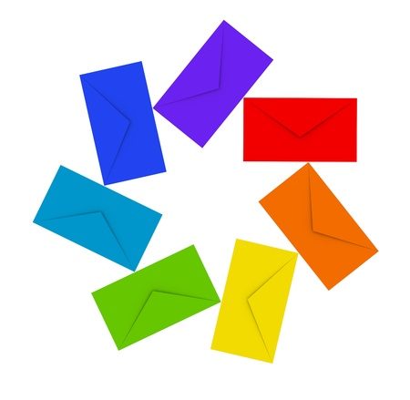 Colorful envelopes isolated on white Stock Photo - 15232291