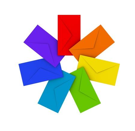 Round pile of colorful envelopes isolated on white Stock Photo - 15232296