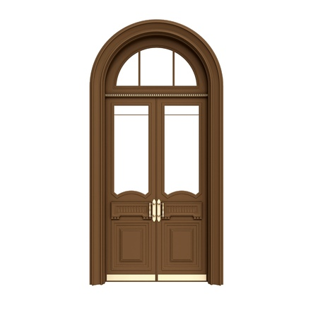 Classical architecture style inter object  brown wooden door isolated on white Stock Photo - 15233014