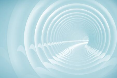 Abstract illustration with light blue bent spiral tunnel Stock Illustration - 15232675