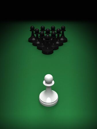 blacks: Abstract concept of chess and pool mix  One white pawn opposite blacks on the green pool table  3d render illustration