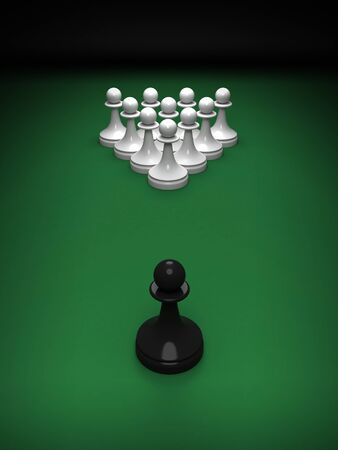 whites: Abstract concept of chess and pool mix  One black pawn opposite whites on the green pool table  3d render illustration