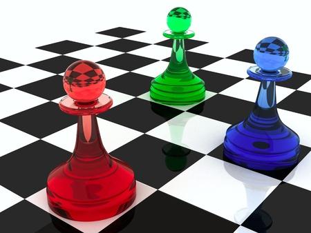 regel: Kleurrijke Schaken cijfers drie klassieke vorm pionnen gemaakt van verschillende kleuren glas RGB kleurenschema 3d render illustratie