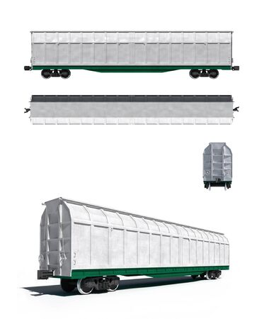 all purpose: 3d render illustration isolated on white  Projections and perspective view of the modern white universal carriage Stock Photo